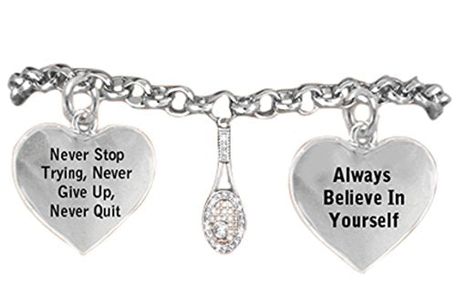 always believe in yourself, never give up tennis hypoallergenic bracelet, safe - nickel free!