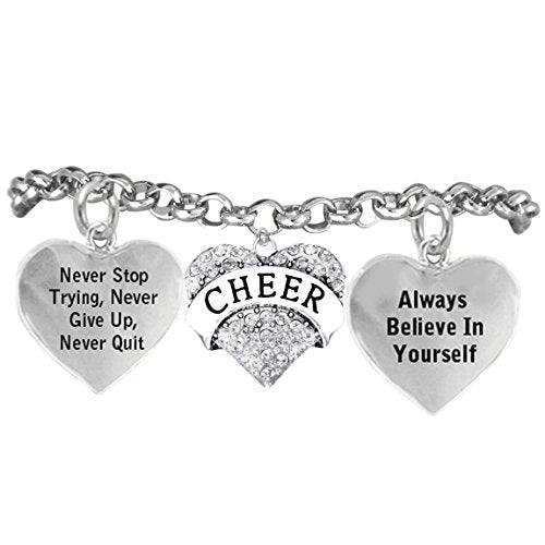"""cheer crystal bracelet """"never stop trying, never give up"""", safe - hypoallergenic, nickel free"""