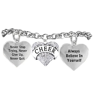"Cheer Crystal Bracelet ""Never Stop Trying, Never Give Up"", Safe - Hypoallergenic, Nickel Free"