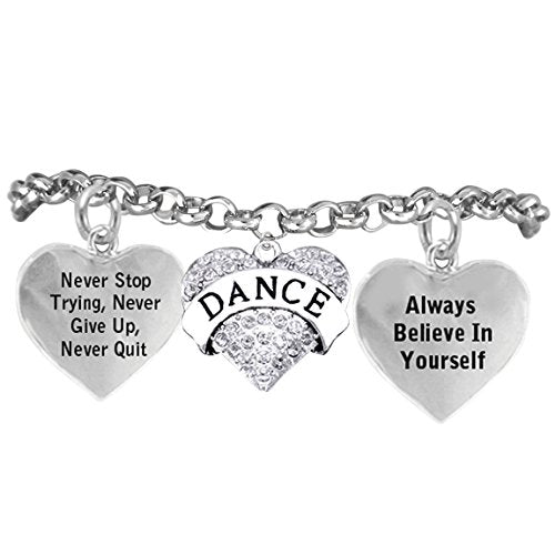"dance crystal heart ""never stop trying, never give up"" bracelet"