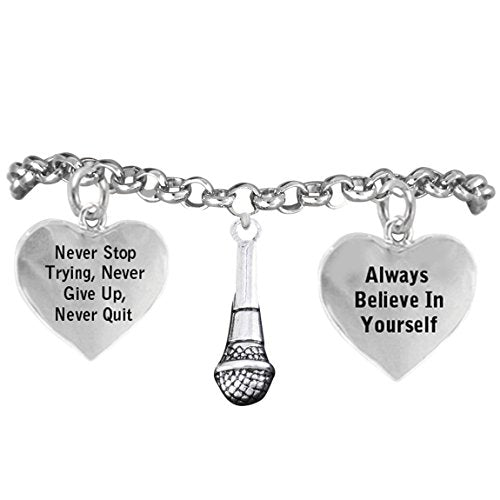 "the perfect gift - singer's microphone ""never give up, never quit"" adjustable nickel & lead free"
