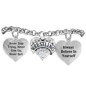 "Wrestling, Never Stop Trying, Never Give Up"" ©2015 Hypoallergenic Adjustable Bracelet"