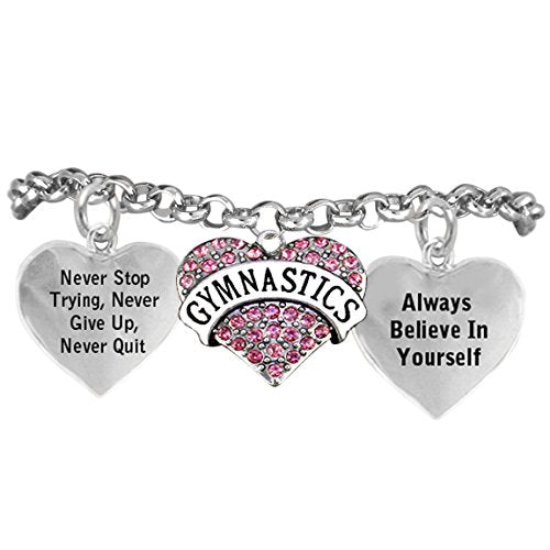 "gymnastic ""never give up, never quit...""bracelet hypoallergenic, safe - nickel, lead & cadmium free!"