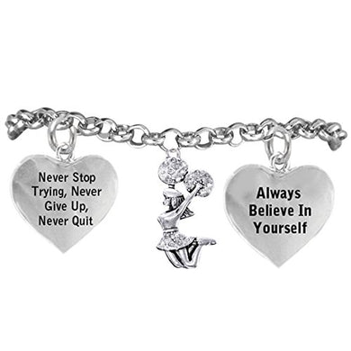 Cheerleader Crystal Bracelet, Never Stop Trying, Never Give Up, Safe - Hypoallergenic, Nickel Free