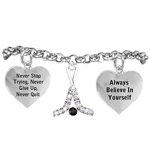 "Ice Hockey Crystal Sticks ""Never Give Up, Never Quit"" Adjustable- Hypoallergenic Nickel Free"