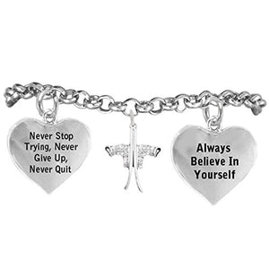 "Snow Skis ""Never Give Up, Never Stop Trying"" Adjustable Bracelet, Safe - Nickel & Lead Free"