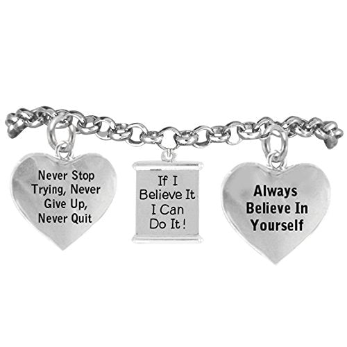 """if i believe it, i can do it, """"never stop trying"""" adjustable bracelet - nickel & lead free"""
