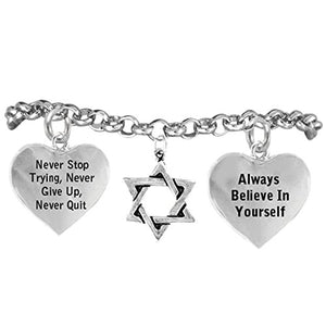 "Jewish Star of David, Never Stop Trying, Never Give Up"" Hypoallergenic Adjustable Bracelet"