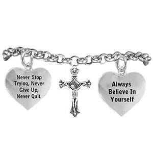 "Jesus Christ Cross Bracelet ""Never Give Up. Never Stop Trying, Adjustable Nickel & Lead Free"