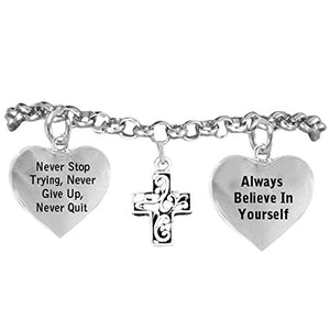 "Christian Cross Bracelet ""Never Give Up. Never Stop Trying, Adjustable Hypoallergenic, Nickel Free"