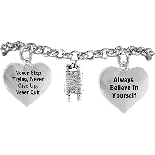 "jewish torah, ""never stop trying, never give up"" hypoallergenic adjustable bracelet"