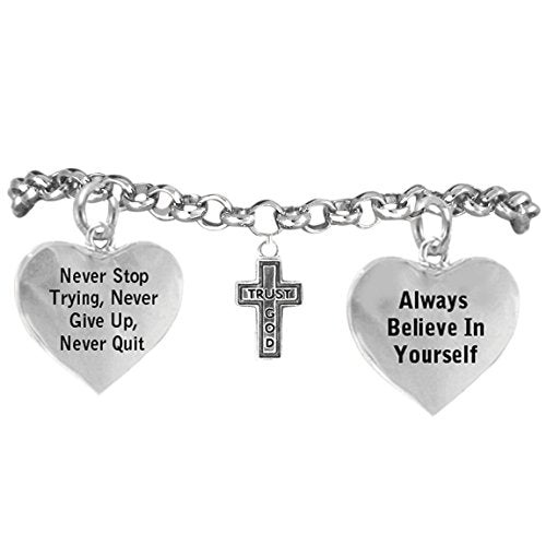 "trust god cross bracelet ""never give up. never stop trying, adjustable hypoallergenic, nickel free"