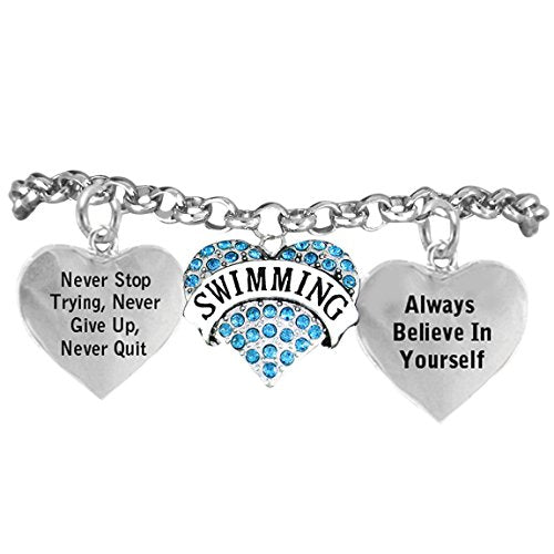 """swimming """"never give up, never quit...""""bracelet hypoallergenic, safe - nickel, lead & cadmium free!"""