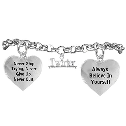 """twirling jewelry """"never give up, never stop trying, believe in yourself"""" nickel free bracelet"""