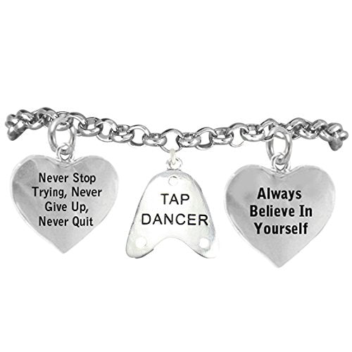 """tap dancer """"never give up, never stop trying. always believe in yourself"""" nickel & lead free"""