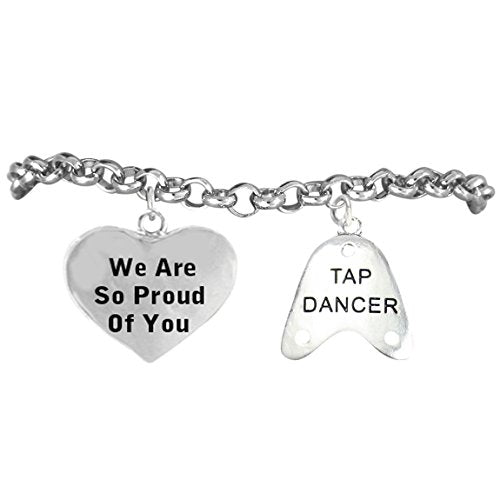 "tap dancer ""we are so proud of you"" hypoallergenic. nickel and lead free!"