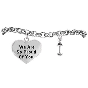 "Weight Lifter ""We Are So Proud of You"" Hypoallergenic Bracelet, Safe - Nickel, Lead & Cadmium Free!"