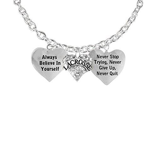 """lacrosse necklace, """"never give up, never stop trying, never quit """"safe - nickel, lead & cadmium free"""