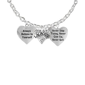 "Lacrosse Necklace, ""Never Give Up, Never Stop Trying, Never Quit ""Safe - Nickel, Lead & Cadmium Free"