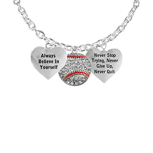 "men's necklace crystal baseball ""never stop trying, never give up"" hypoallergenic"