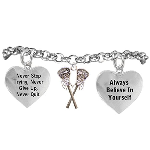 "lacrosse ""never stop trying, never give up, never quit"" adjustable bracelet, - nickel & lead free"