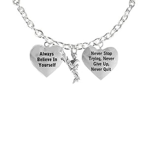 "Men's Necklace, ""Karate"", ""Never Stop Trying, Never Give Up"" Hypoallergenic"