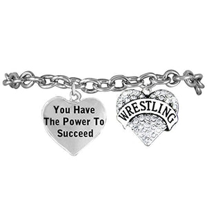 "Wrestling, You Have the Power to Succeed"" Hypoallergenic Bracelet"
