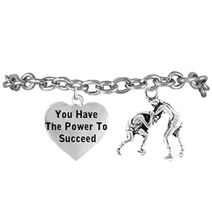 "Wrestling ""You Have the Power to Succeed"" Hypoallergenic Bracelet"
