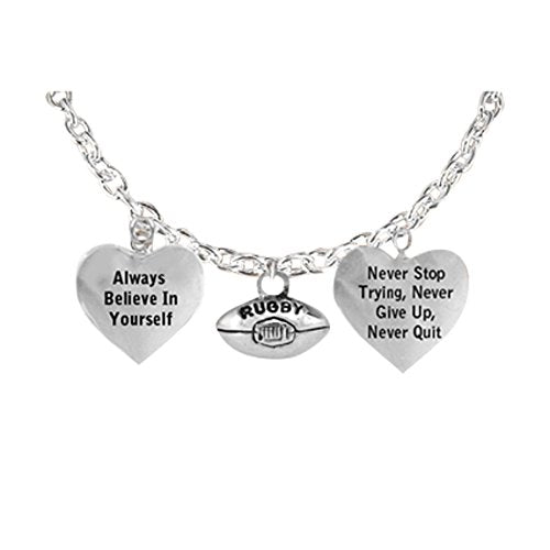"""the perfect gift """"rugby"""" never give up, never quit"""" adjustable bracelet, safe - nickel & lead free"""