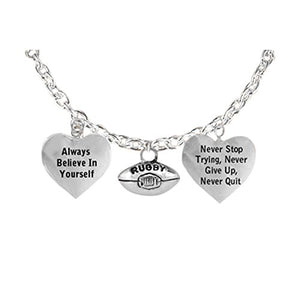 "The Perfect Gift ""Rugby"" Never Give Up, Never Quit"" Adjustable Bracelet, Safe - Nickel & Lead Free"