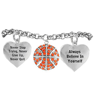 "Basketball, Never Stop Trying, Never Give Up"" Hypoallergenic Adjustable Bracelet"