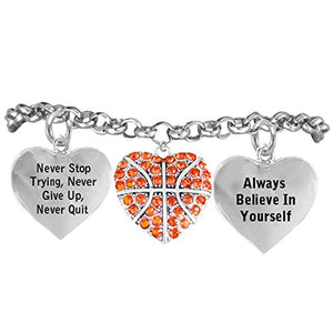 "Basketball, Never Stop Trying, Never Give Up"" ©2014 Hypoallergenic Adjustable Bracelet"