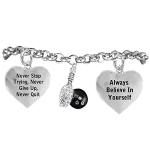 "The Perfect Gift Crystal Bowling ""Never Give Up, Never Quit"" Adjustable Bracelet - Nickel Free"