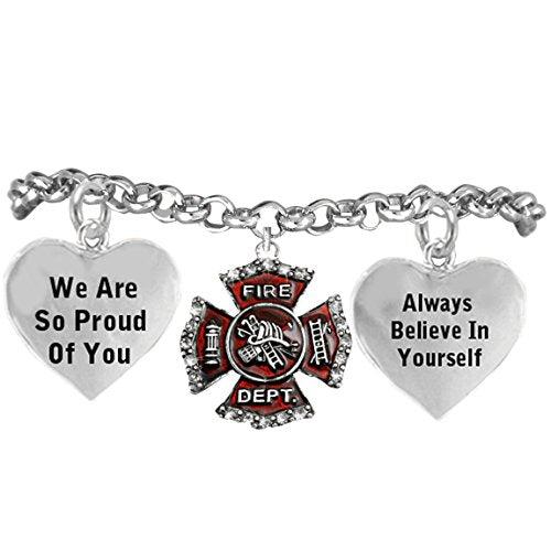 "firefighter's crystal ""we are so proud of you adjustable hypoallergenic"" safe - nickel & lead free!"