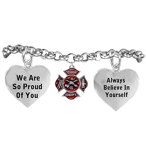 "firefighter's ""we are so proud of you adjustable hypoallergenic"" safe - nickel, lead & cadmium free!"