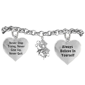 "Theater Drama Masks,"" Never Give Up"" ©2014 Hypoallergenic Adjustable Bracelet. Nickel & Lead Free"