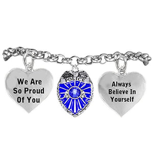 "Policewoman's ""We Are So Proud of You ""Hypoallergenic Adjustable Bracelet. Nickel and Lead Free"