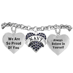 "The Perfect Gift ""Navy Crystal Heart"" Hypoallergenic Adjustable Bracelet, Nickel & Lead Free!"