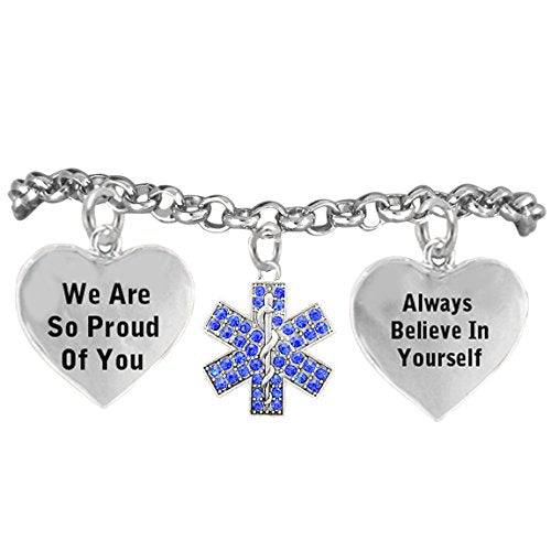 """the perfect gift crystal """"emt"""", """"we are so proud of you"""" hypoallergenic bracelet, nickel & lead free"""