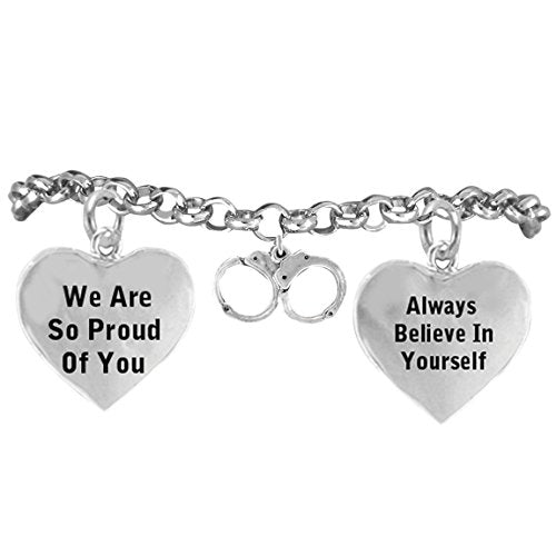"""policewoman's handcuff """"we are so proud of you"""" adjustable bracelet nickel & lead free"""