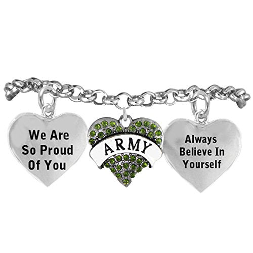 "the perfect gift ""army crystal heart"" hypoallergenic adjustable bracelet, nickel & lead free!"