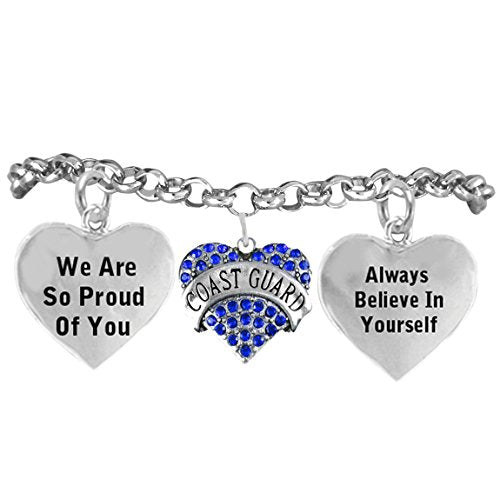 """the perfect gift """"coast guard crystal heart"""" hypoallergenic adjustable, nickel & lead free"""