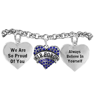 "The Perfect Gift ""Air Force Crystal Heart"" Hypoallergenic Adjustable, Nickel & Lead Free"