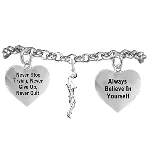 """girl basketball player, never stop trying, never give up"""" hypoallergenic adjustable bracelet"""
