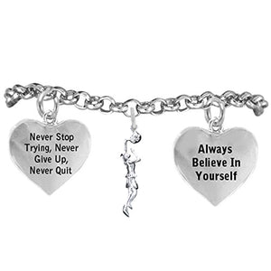 "Girl Basketball Player, Never Stop Trying, Never Give Up"" Hypoallergenic Adjustable Bracelet"
