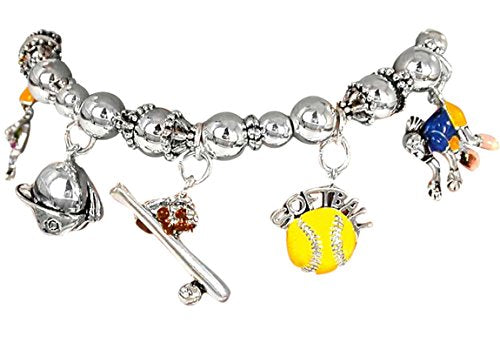 softball stretch bracelet  ©2003 hypoallergenic safe nickel & lead free fits anyone, child to adult