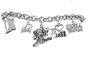 I Love Drill Team Charm Bracelet Safe - Nickel, Lead & Cadmium Free!