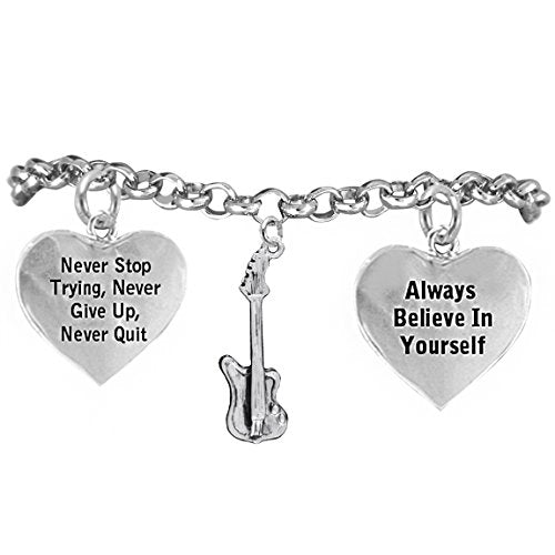 """the perfect gift """"electric guitar"""" never give up, never quit"""" bracelet, safe - nickel & lead free"""