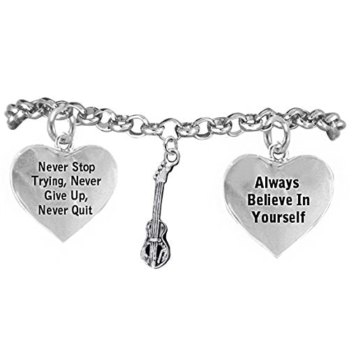 "the perfect gift ""bass electric guitar"" never give up, never quit"" bracelet, safe - nickel free"