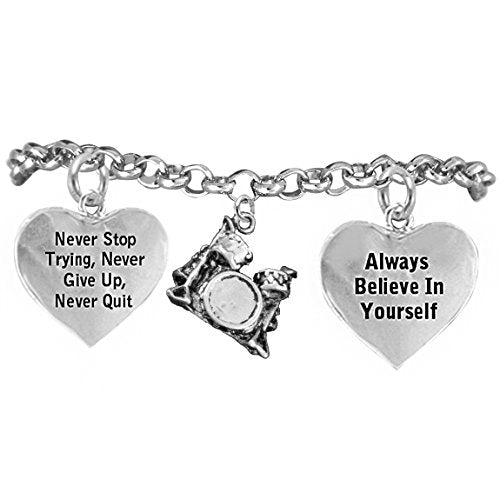 "the perfect gift ""drums"" never give up, never quit"" adjustable bracelet, safe - nickel & lead free"